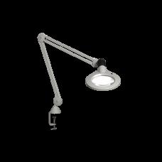 "Luxo KFM LED, 45"" arm, 5-D lens, and edge clamp mount, light grey"
