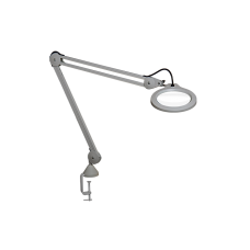 "Luxo Magnifier LFM LED G2, 45"" arm, 3-D lens and clamp, Light Grey"