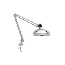 "Luxo WAVE LED, 30"" arm, 3.5-D lens, and edge clamp mount, light grey"
