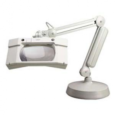 "*Luxo WAVE+Plus Magnifier, 230v, 3.5-Diopter Lens w/ Anti-Reflective Coating, 30"" w/ Base, Light Grey"